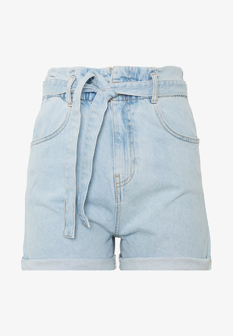 Gina Tricot - PAPERBAG DENIM SHORTS - Denim shorts - light blue