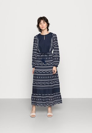 VALENTINA EMBROIDERED FLARE DRESS - Vestito lungo - navy