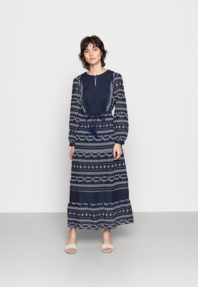 VALENTINA EMBROIDERED FLARE DRESS - Maxi-jurk - navy