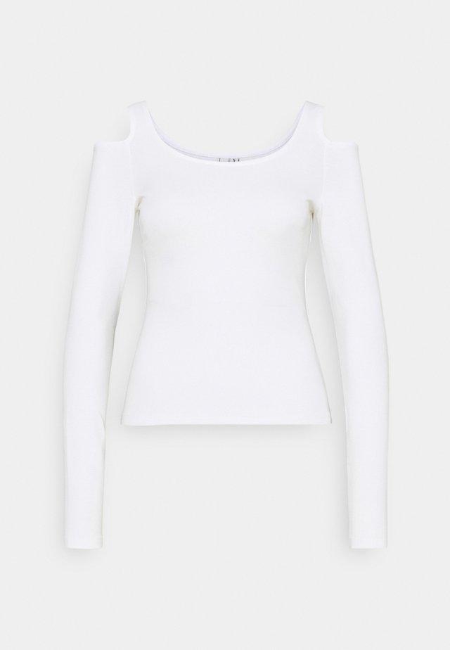 COLD SHOULDER TOP - Top sdlouhým rukávem - white