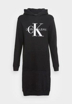 HOODIE DRESS MONOGRAM - Vapaa-ajan mekko - black