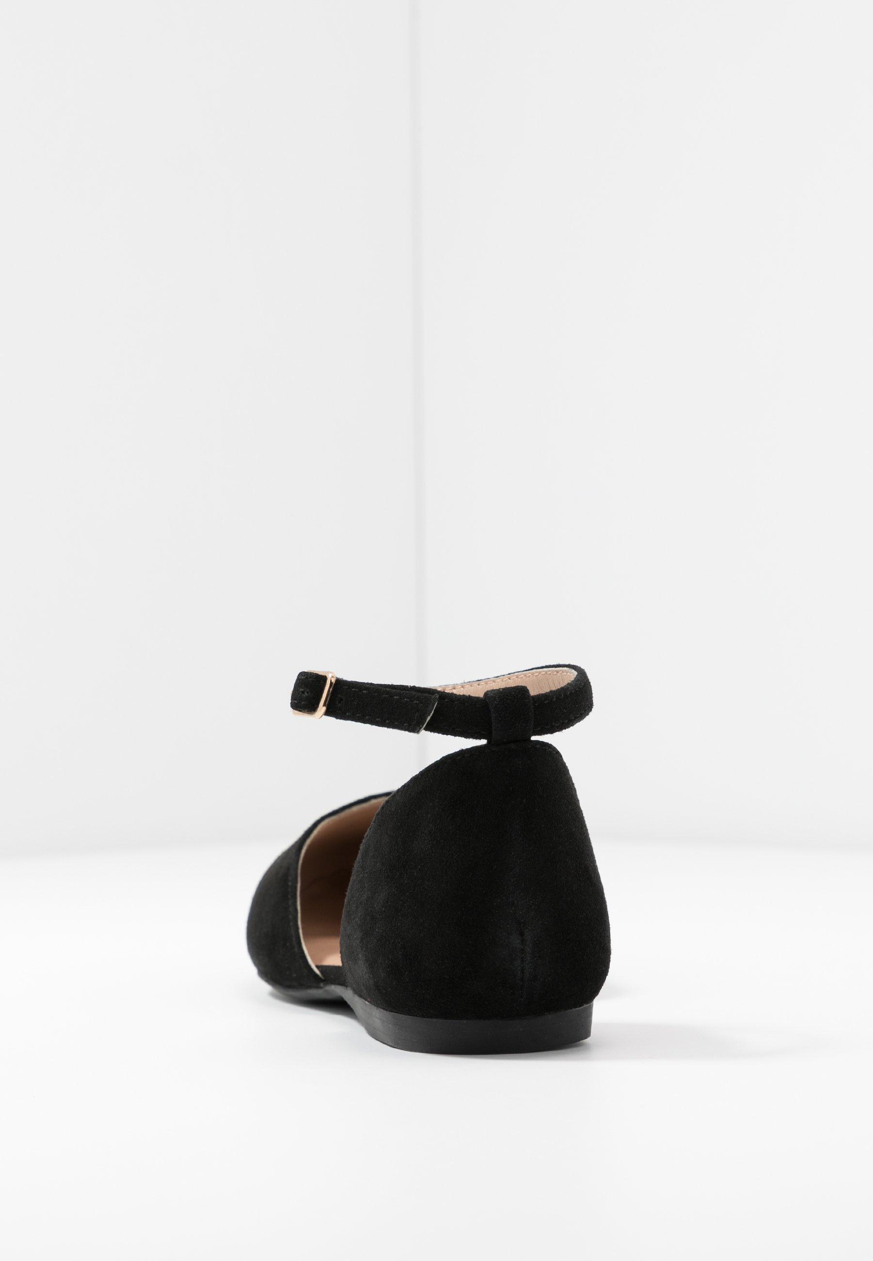 Anna Field Wide Fit Leather Ankle Strap Ballet Pumps - Ballerinasko M/ Rem Black