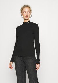 Calvin Klein Jeans - MOCK NECK TEE - Long sleeved top - black - 0