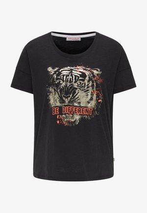 BAUMWOLLSHIRT MIT AUFFÄLLIGEM PRINT - Print T-shirt - black