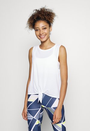 TIE FRONT MUSCLE TANK - Top - optic white