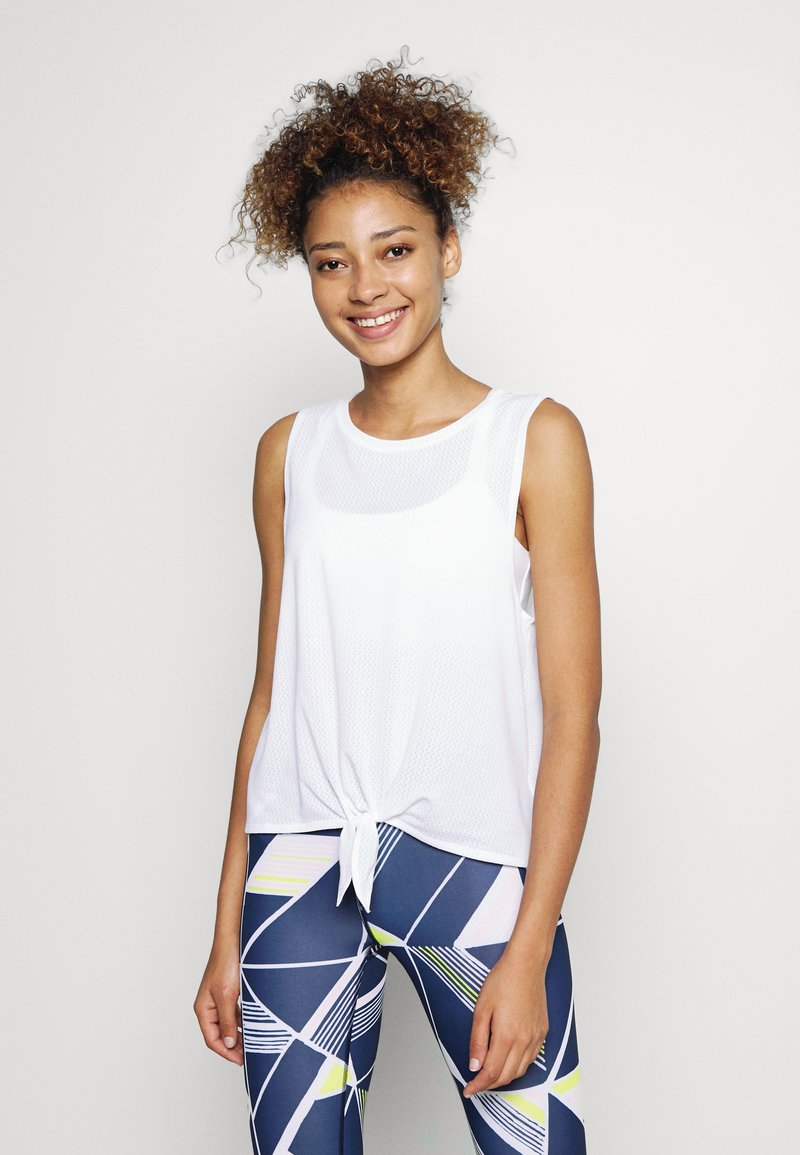 GAP - TIE FRONT MUSCLE TANK - Topper - optic white