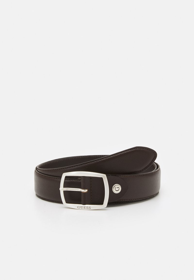 Guess - BELT ROUNDED SQUARE BUCKLE - Belt - dark brown