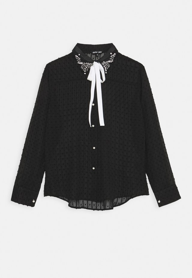 ALL THE CRAZE BOW - Button-down blouse - black