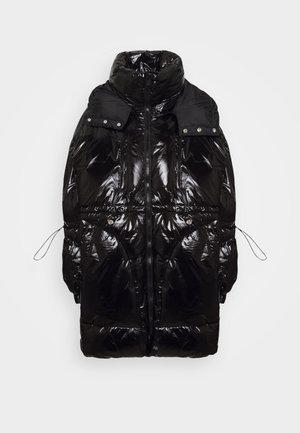 LONG PUFFER WITH HOOD - Wintermantel - black