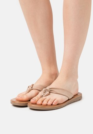LEATHER - T-bar sandals - beige