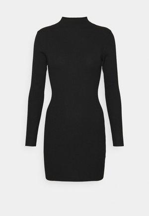 HIGH NECK MINI DRESS - Jumper dress - black
