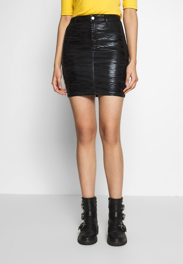ZEBRA COATED JONI SKIRT - Mini skirt - black