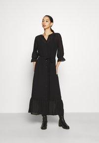 Vila - VIASTRID BUTTON TIE BELT DRESS - Maxi dress - black - 0