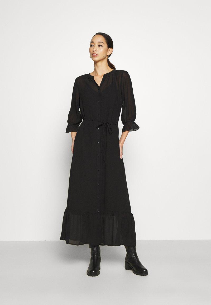 Vila - VIASTRID BUTTON TIE BELT DRESS - Maxi dress - black
