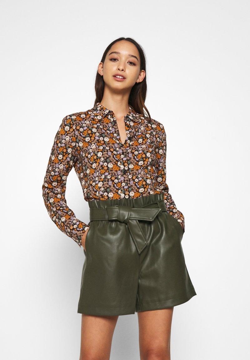 Scotch & Soda - SLIM FIT  - Button-down blouse - black/orange/lilac