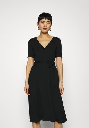 WRAP MIDI - Jersey dress - true black