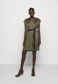 DKNY - CAP V NECK DRESS - Day dress - rosemary - 0