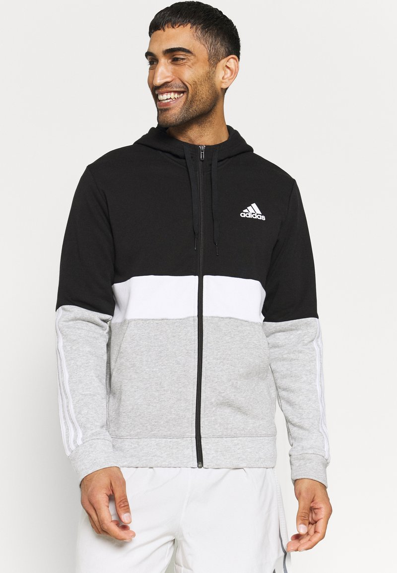 adidas Performance - COLORBLOCK FULL ZIP ESSENTIALS - Zip-up sweatshirt - black/white