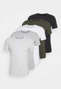 5 PACK - T-shirt - bas - black/white/light grey