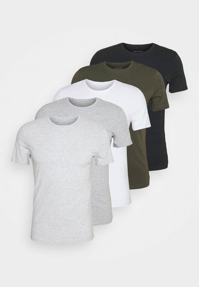 5 PACK - T-shirts - black/white/light grey