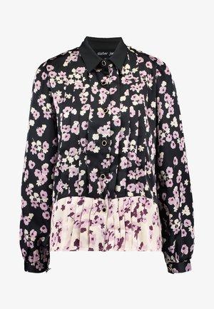 MISMATCH FLORAL BLOUSE - Button-down blouse - black and pink