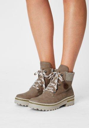 Lace-up ankle boots - fango/beige/mogano