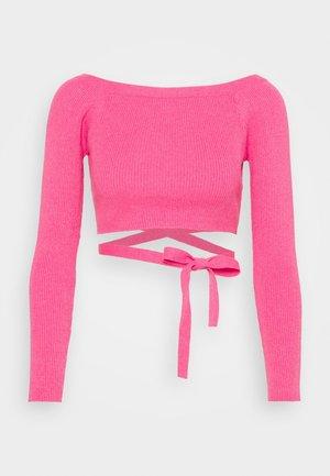 BARDOT TOP WAIST TIE DETAIL - Pullover - pink