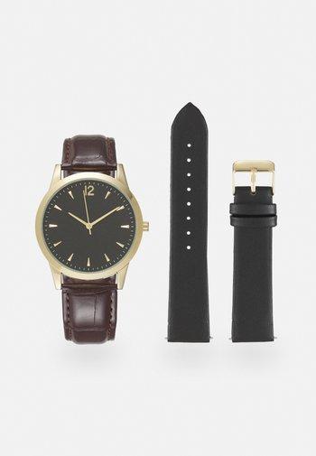 SET - Hodinky - dark brown/black