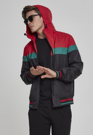 HOODED COLLEGE WINDBREAKER - Summer jacket - navy/white/fire red