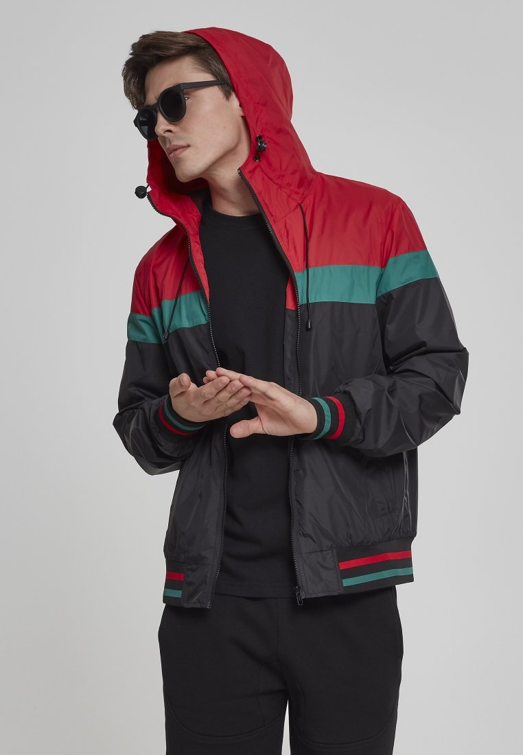 Urban Classics - HOODED COLLEGE WINDBREAKER - Summer jacket - navy/white/fire red