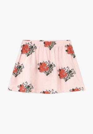 FLOWERS - Áčková sukně - light pink/red