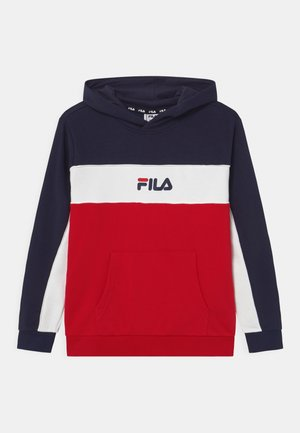 BASIC BLOCKED HOODY - Mikina s kapucí - true red/black iris/bright white