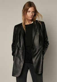 Massimo Dutti - MIT GÜRTEL - Leather jacket - black - 0