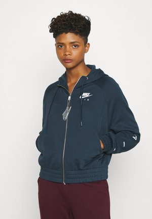 Zip-up hoodie - deep ocean/white