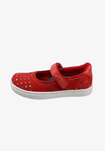 Ankle strap ballet pumps - signal red
