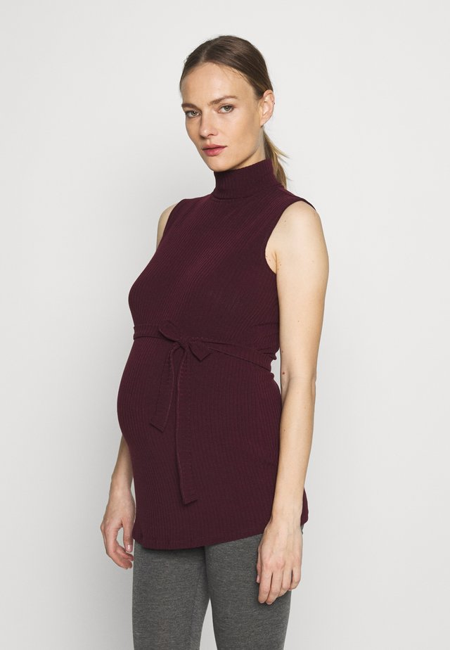 HIGH NECK TIE TOP - Top - burgundy