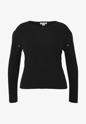 BUTTON SLEEVE DETAIL KNITTED TOP - Jumper - black