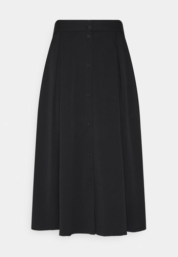 SIGRID BUTTON SKIRT - A-line skirt - black dark solid