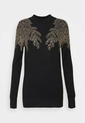 LEAF EMBELLISHED JUMPER - Maglione - black