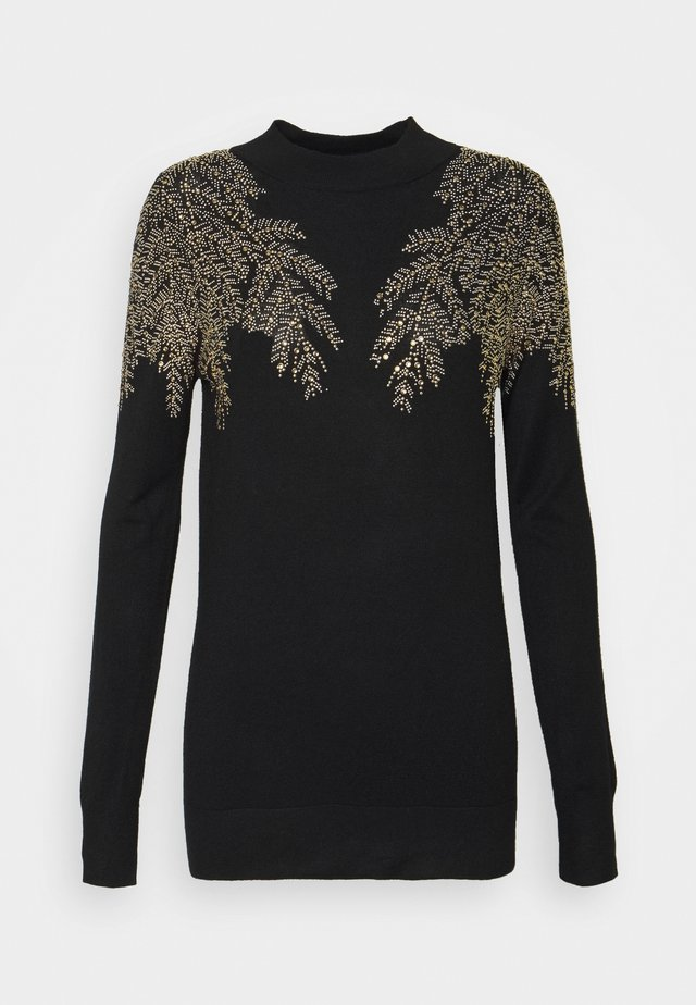 LEAF EMBELLISHED JUMPER - Jumper - black