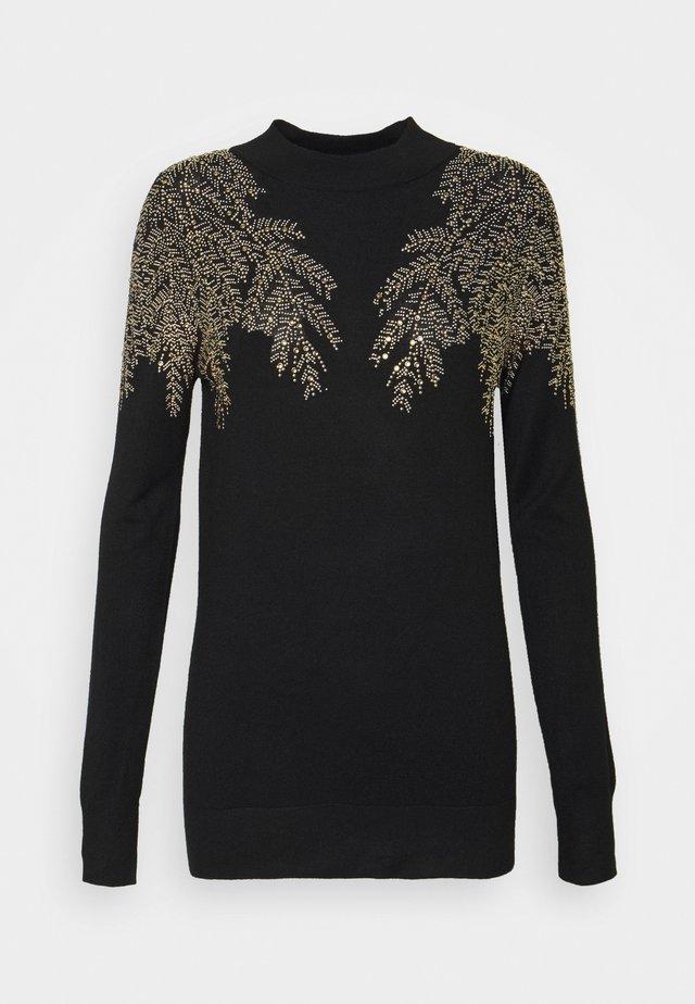 LEAF EMBELLISHED JUMPER - Pullover - black