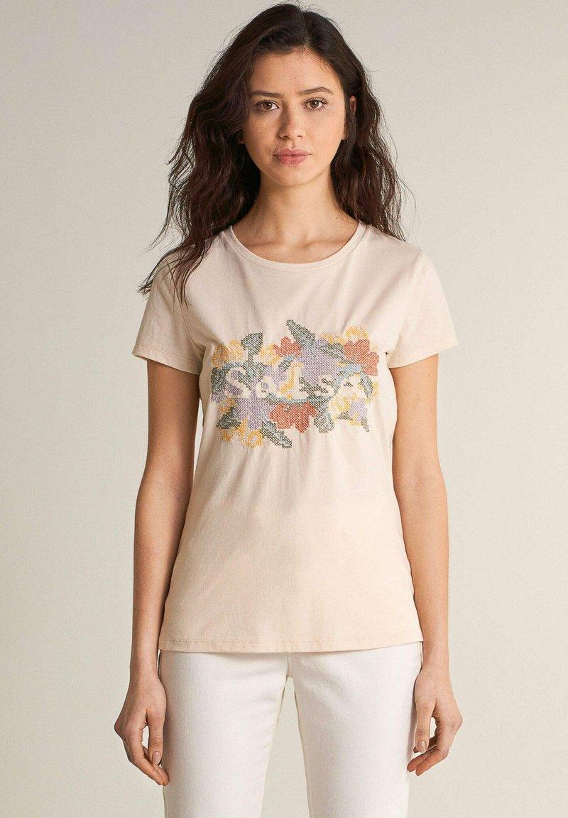 Salsa - SAMARA REGULAR - Print T-shirt - weiß