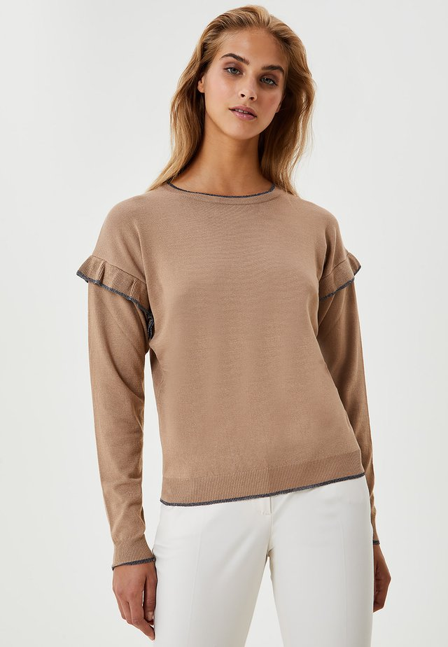WITH RUCHING - Maglione - beige