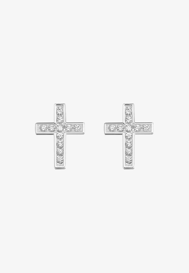 KREUZ - Ohrringe - silver-coloured/white