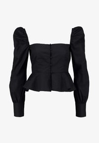 Missguided Petite - PETITE SQUARE NECK PEPLUM TOP - Blouse - black - 4