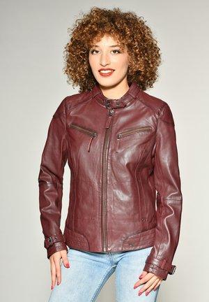 RYANA - Leather jacket - mahagony