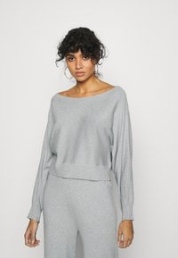 Even&Odd - SET STRICK - Jumper & Wide leg trouser - Svetr - mottled light grey - 3