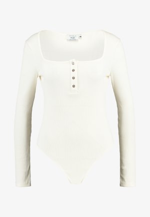 Pamela Reif x NA-KD LONG SLEEVE BUTTON DETAIL BODYSUIT - Long sleeved top - off white