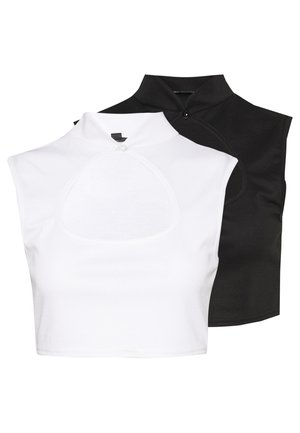 HIGH NECK KEYHOLE FRONT CROP 2 PACK - Top - white/black