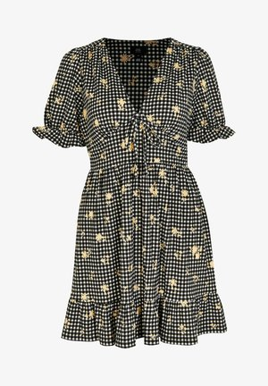 GINGHAM EMBROIDERED  - Day dress - black